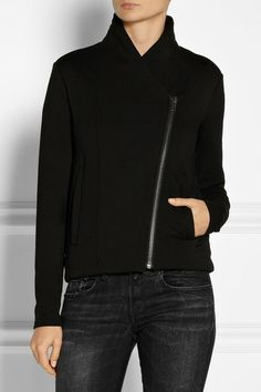 Helmut Lang. Rayon spandex knit jacket. With the asymmetric zip of a moto jacket and the softness of a sweatshirt, Helmut Lang's black coverup balances comfort and style. The interior is padded and fully lined in jersey for a plush feel.