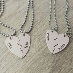 Copper broken heart his and his or hers and hers necklace set, lgbt jewelry, lesbian jewelry, gay jewelry, noh8, lgbt community, lgbt pride, hand stamped jewelry, couples jewelry by MissAshleyJewelry