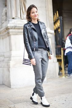 Maria Duenas Jacobs Mensear White Creeper Boots Black Leather Mooto Jacket Grey Trouser Pants Rolled Pants Black Weater Fall Neutrals Paris Fashion Week