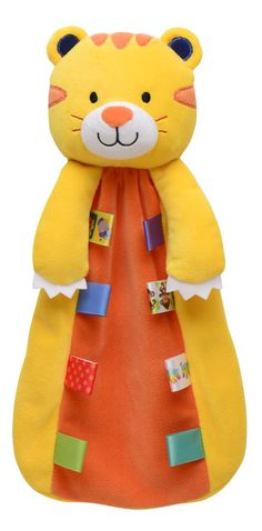 SECURITY BLANKET TAGGIES TIGER TALES FLAT STRIPES TAGS YELLOW SNUGGLE BUDDY SOFT
