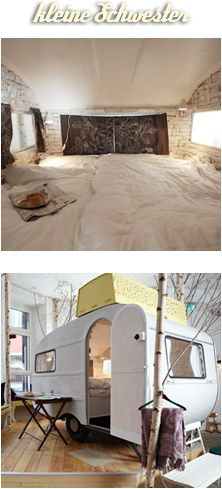 huettenpalaste hostel in berlin. ingenious design concept: converted campers create personal space indoors.  Omgosh..coolest idea ever.  I see these old abandoned trailers all the time in Colorado.  Hmmm.....