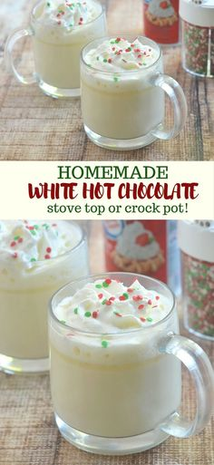 White Hot Chocolate is a rich, creamy and pure comfort food you'll love to cozy up to on a cold winter day or anytime you need a sweet treat. It's ready in minutes, has simple ingredients, and can be made in the slow cooker!