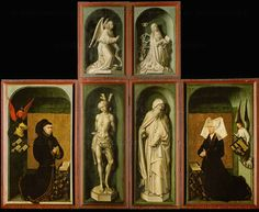 Weyden, Rogier van der (Roger de la Pasture)  Reverse panels of the altar of The Last Judgement. Center top: Annunciation; below: Saints Sebastian and Anthony,patron of the Hospice de Beaune; left:Nicolas Rolin, chancellor of the Dukes of Burgundy, right: his wife; angels holding the couple's coats of arms. 1434  www.artexperiencenyc.com