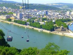 Families enjoy taking the aerial tram to Ehrenbreitstein Fortress in Germany