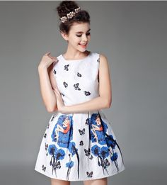 2016 Summer Dress Women Brand Print Style Sleeveless Vest Casual Dresses Ladie Vintage Plus Size Girl Jacquard Eroidery Clothing