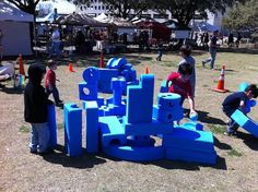 """Photo by: Austin Parks Dept.  Imagination Playground, Austin  Architect David Rockwell designed this """"playground in a box."""" Kids can use creativity and foam blocks to build their own idea of a playground almost anywhere."""