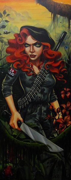 Guerrila by Gabi Spree Sexy Soldier Woman Warfare Canvas Art Print – moodswingsonthenet