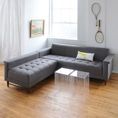 """Gus* Modern Harbord Loft Bi-Sectional. W83.5xD78""""xH28"""" Seat Depth 22.5"""" Arm Rest 23"""" Seat Height 17"""" Back Height from top of cushion 11"""" - Fabric Totem Pebble. $3000."""