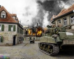 M4A3 Sherman of the 11th Armored Division, 3rd U.S. Army entering the town of Kronach, Bavaria as buildings burn around them.12 April, 1945.