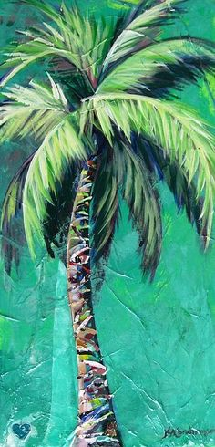 Brighten your home with the vibrant and brilliant colors of Abrahamson Fine Art. Order now as a print on paper, on canvas, on metal or on wood. https://kristen-abrahamson.pixels.com. Palm tree painting with aqua background by Kristen Abrahamson for your coastal decor. Beach wall art, beach art, palm art. See more @pinterest.com/kabrahamsonart
