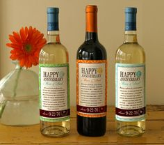 Flight of 3 Custom Anniversary Wine Labels list by smallcreatures, $34.00