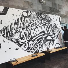 gangLove this type mural. Type by Graffiti Wall Art, Mural Wall Art, Mural Painting, Office Mural, School Murals, Typography Art, Wall Art Designs, Painted Signs, Doodle Art