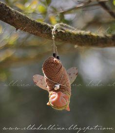 Tree fairy . OOAK Fairy art doll . Fairy cocoon.