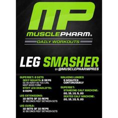 #MP Workout of the Day! Leg Smasher by @MusclePharmPres Powered by #Combat! Tag someone that you know skips leg day! Chest Workouts, Gym Workouts, Training Workouts, Biceps Workout, Workout Routines, Chest Exercises, Calisthenics Workout, Fitness Routines, Plyometrics