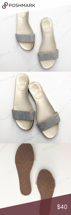 NWOT Vince Camuto Rhinestone Slide Sandals NWOT Vince Camuto Rhinestone slide sandals in a gold color. Size 7.5 Vince Camuto Shoes Sandals