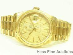 Genuine Sapphire Crystal Quickset Bark President Rolex 18k Gold Day Date Watch 1 #Rolex #Sport