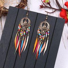 Copper Earrings, Feather Earrings, Bridal Earrings, Tassel Earrings, Dangle Earrings, Earrings Photo, Gold Necklace, Boho Jewelry, Women Jewelry