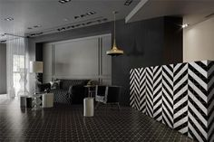 """Living room floor design with 4"""" black triangle mosaic tiles, it is cool and stylish!"""