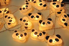 35 Bulbs Cutie Panda mulberry paper Lanterns Garland for door ginew
