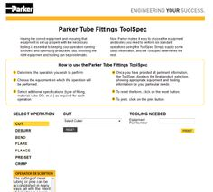 """With this handy Web-based """"app"""" at your fingertips, Parker makes it easy to choose the equipment and tooling you need to perform six standard operations. Just go to www.tfdtoolspec.com, supply some basic information and ToolSpec determines the rest!"""
