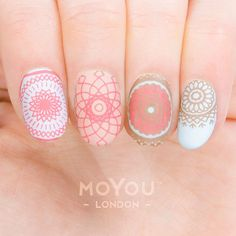 This collection is about these one-of-a-kind spiritual and ritual works of art. Create these beautifully intricate geometric patterns in just minutes. Mandala Nails, Nail Art Stamping Plates, Vernis Semi Permanent, Finger Nail Art, Nail Patterns, Plate Design, Mandala Pattern, Nail Stickers, Nail Artist