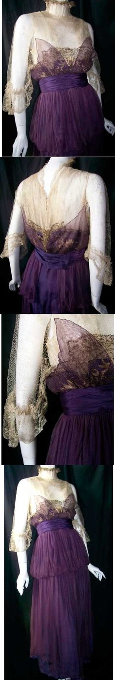Edwardian evening dress of silk and gilded lace in deep violet and ecru. Butterfly wing effect at bust.