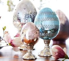 Our mercury-glass eggs add dimension and bring sparkle to a seasonal display. They're finely crafted of mouth-blown glass, each with a different etched design and two embellished with beads. Hoppy Easter, Easter Eggs, Easter Crafts, Easter Ideas, Easter Decor, Easter Holidays, Happy Holidays, Egg Decorating, Interior Decorating