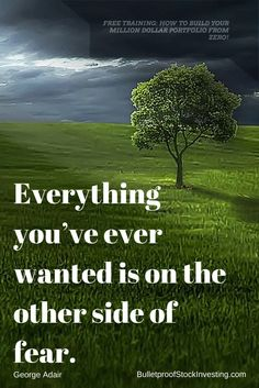 Everything you've ever wanted is on the other side of fear. Stock Investing, Investing In Stocks, Stock Portfolio, Free Training, The Other Side, Stock Market, Survival, Building