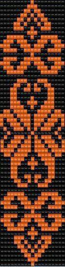 Схема гердана More black and orange bead loom pattern Beading Patterns Free, Seed Bead Patterns, Peyote Patterns, Weaving Patterns, Beading Tutorials, Bead Loom Bracelets, Beaded Bracelet Patterns, Tablet Weaving, Loom Weaving