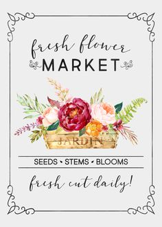 Come on in and check out our latest free printable! Free Printable Farmhouse Fresh Flower Market Wall Art that will make your Gallery Wall SMILE! Free Printable Art, Gift Tags Printable, Free Printables, Diy And Crafts, Paper Crafts, Paper Quilt, Free Graphics, Flower Market, Free Prints