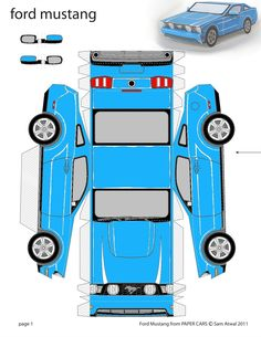 See 5 Best Images Of Paper Car Templates Printable Mustang Template Print Out Cars Crafts