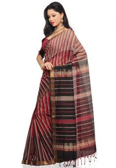 Red with Black color Mangalagiri Handloom Cotton Saree – side view