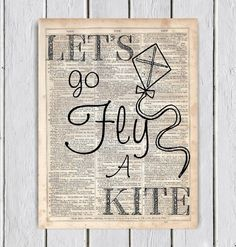 Let's Go Fly A Kite Mary Poppins Dictionary by MySilhouetteShoppe