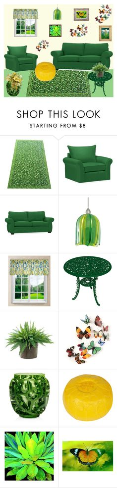 """""""Contest: Green Floral Living Room"""" by billsacred ❤ liked on Polyvore featuring interior, interiors, interior design, home, home decor, interior decorating, Pottery Barn, WAC Lighting, Ellis Curtain and Seletti"""