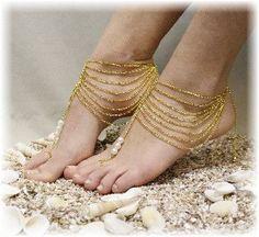Foot jewelry, gold barefoot sandals, Boho, bohemian, barefoot sandal beach, barefoot sandle, Grecian, wedding, bridal, beach, festival, GRECIAN GODDESS | BF16