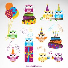 Vector owl birthday set Free Vector
