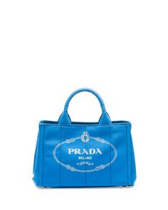 Canvas Mini Logo Tote with Strap, Cobalt Blue (Azzuro) by Prada at Neiman Marcus. $695.00