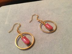 Handmade Prong Set Pink Moonstone Gold Tone Hoop Earrings. OOAK on Etsy, $15.00