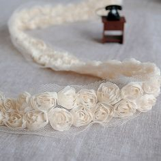 Lace Trim Lace Fabric Cream 2 Rows Rose Wedding Fabric DIY Handmade 2.16'' width 2 yards via Etsy.