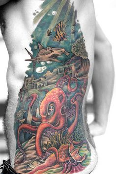 Ocean Tattoo - Tatuagem Fundo do Mar  Dang! That took some time, super rad!