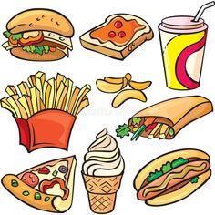 food icon Fast food icon set Royalty Free Vector I - Fruit Icons, Food Icons, Food Cartoon, Cartoon Icons, Food Stickers, Kawaii Stickers, Cute Food Art, Cute Art, Cute Food Drawings