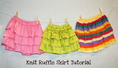 easy ruffle skirt....amazing what you can do with old clothes you can't wear any more
