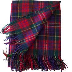 MacPherson Tartan Throw/Blanket Tartan Throws, Plaid Scarf, Blanket, Wool, Connection, Weaving, Fabrics, Clothes, Dresses