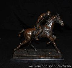 6e641d115df8 Bronze Polo Player Statue Horse Jockey Figurine Casting It Cast