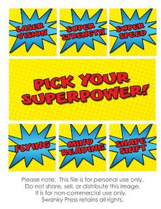 food labels? Let's Panic: FUN FAIL: SUPERHERO PARTY FREE PRINTABLE IDEAS and other google key words you're going to type