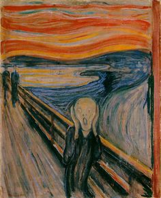 "The Scream ~ Edvard Munch    A Norwegian painter. Don't you just wonder what was going through his mind when he painted this? Like,""omg, I burned the lefse!"""