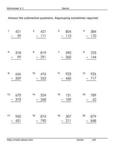 math worksheet : subtractions with regrouping across zeros worksheets  printable  : Subtraction With Regrouping Across Zeros Worksheets