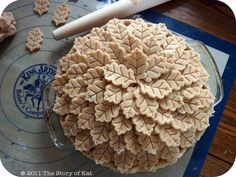 A beautiful leaf pie crust... no recipe! Leaf pastry cutters from Williams Sonoma!