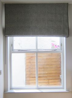 Roman Blind In hand printed linen- Walter G Huts in Slate colour, with narrow grey border Roman Blinds, Printed Linen, Motorhome, Slate, Home Furnishings, Knits, Fabrics, Cushions, Colour