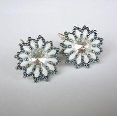 Rivoli Swarovski Flower Earrings by aaalenka on Etsy.